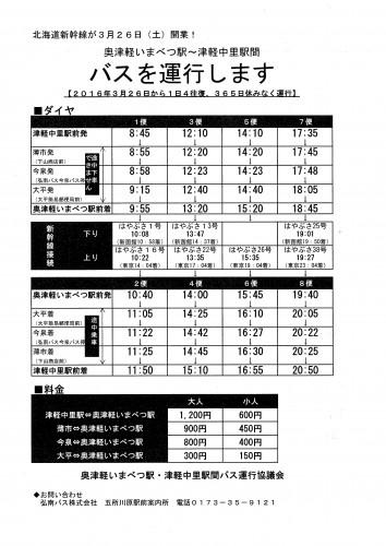 いまべつ駅~中里駅バス運行表